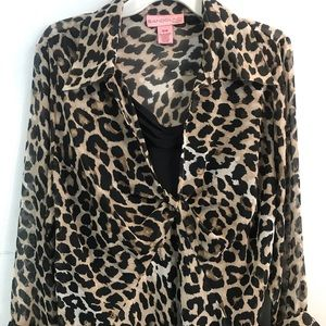 NWT Bandolino 16 W Cheetah Leopard LS 2 Pc. Blouse